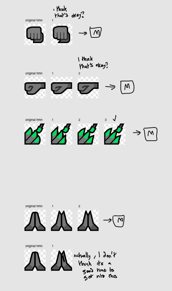 Series of claw hand iterations.