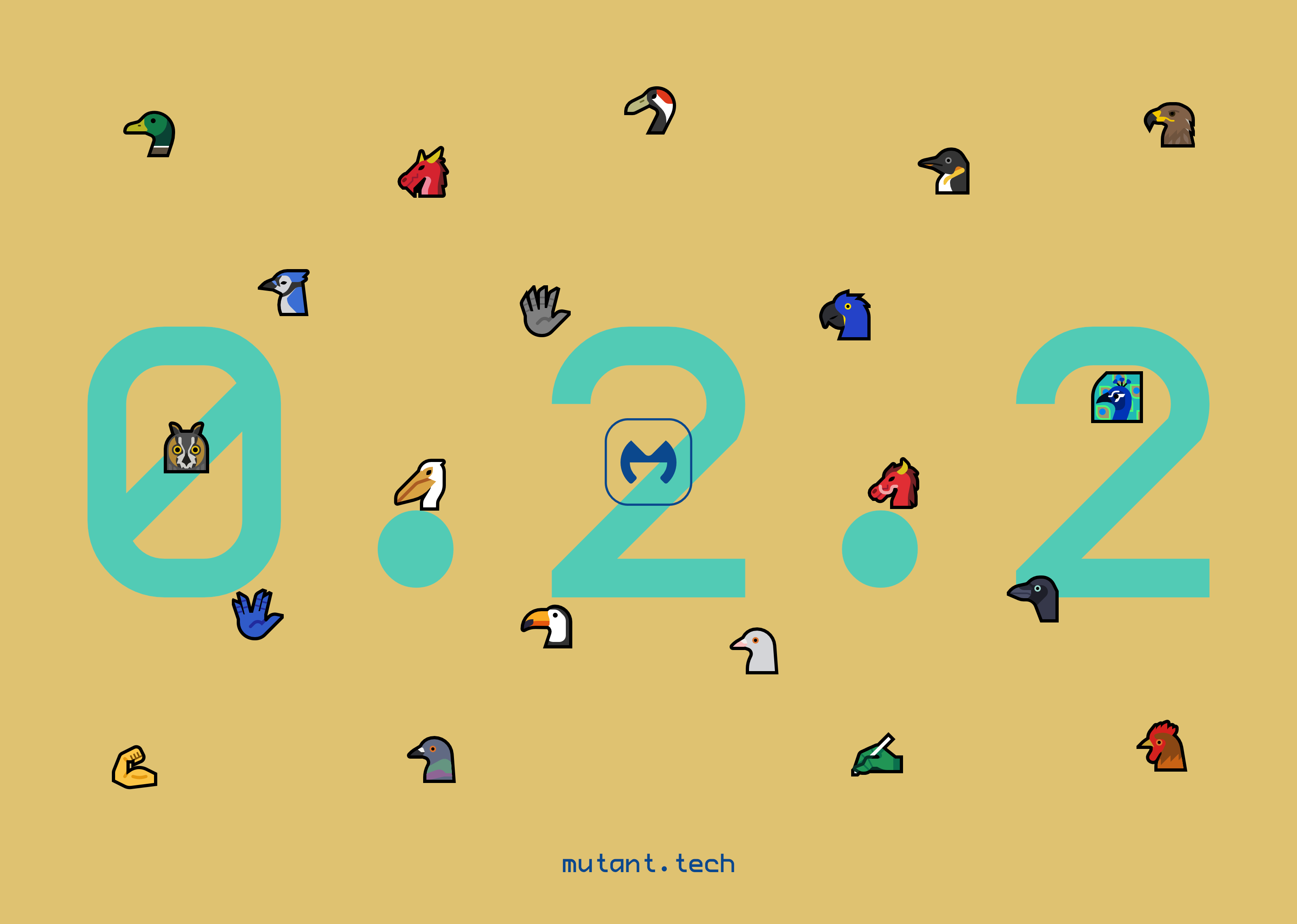 Promo image of Mutant Standard 0.2.2 - all of the new emoji are arranged in a scattered manner around the logo in front of a tan background.