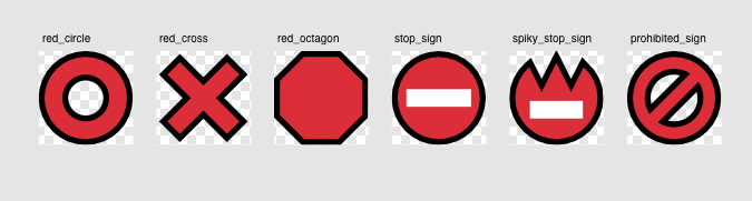 Emoji designs for 'red circle', 'red cross', 'red octagon', 'stop sign', 'spiky stop sign' and 'prohibited sign'