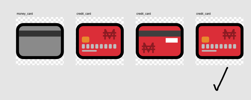 4 credit card designs, at different stages of completion and with some variance in the design.