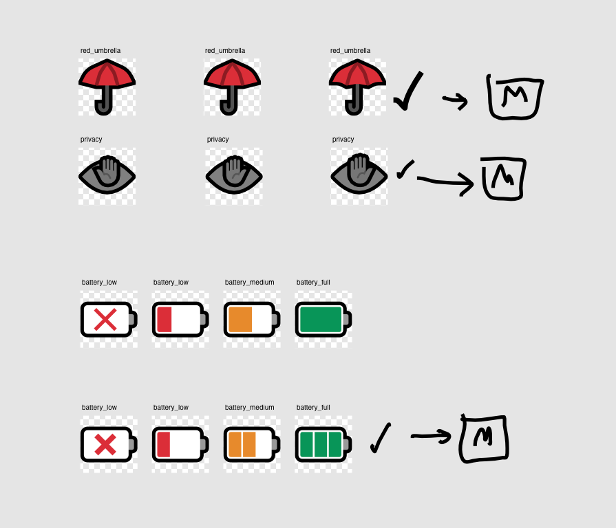 Development sketches for 'red umbrella', 'privacy' (an eye with a hand over it), and battery emoji - 'battery empty', 'battery low', 'battery medium' and 'battery full'.