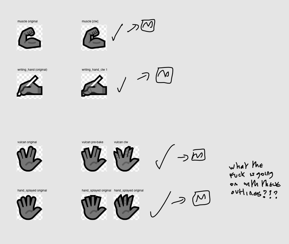 Development sketches for claw hand expressions - muscle, writing hand, vulcan and splayed hand.