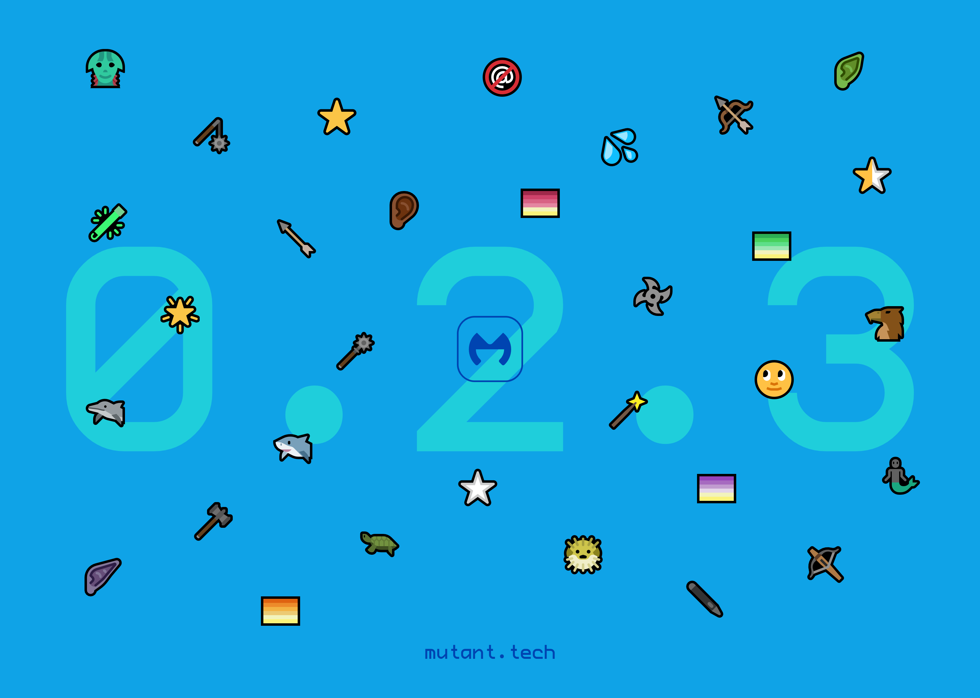 Promo image for Mutant Standard 0.2.3. All of the new emoji in 0.2.3 are scattered around the Mutant Standard logo in front of a bright blue background. Behind them is '0.2.3' in large light blue letters. The URL mutant.tech is on the center bottom in small dark blue text.