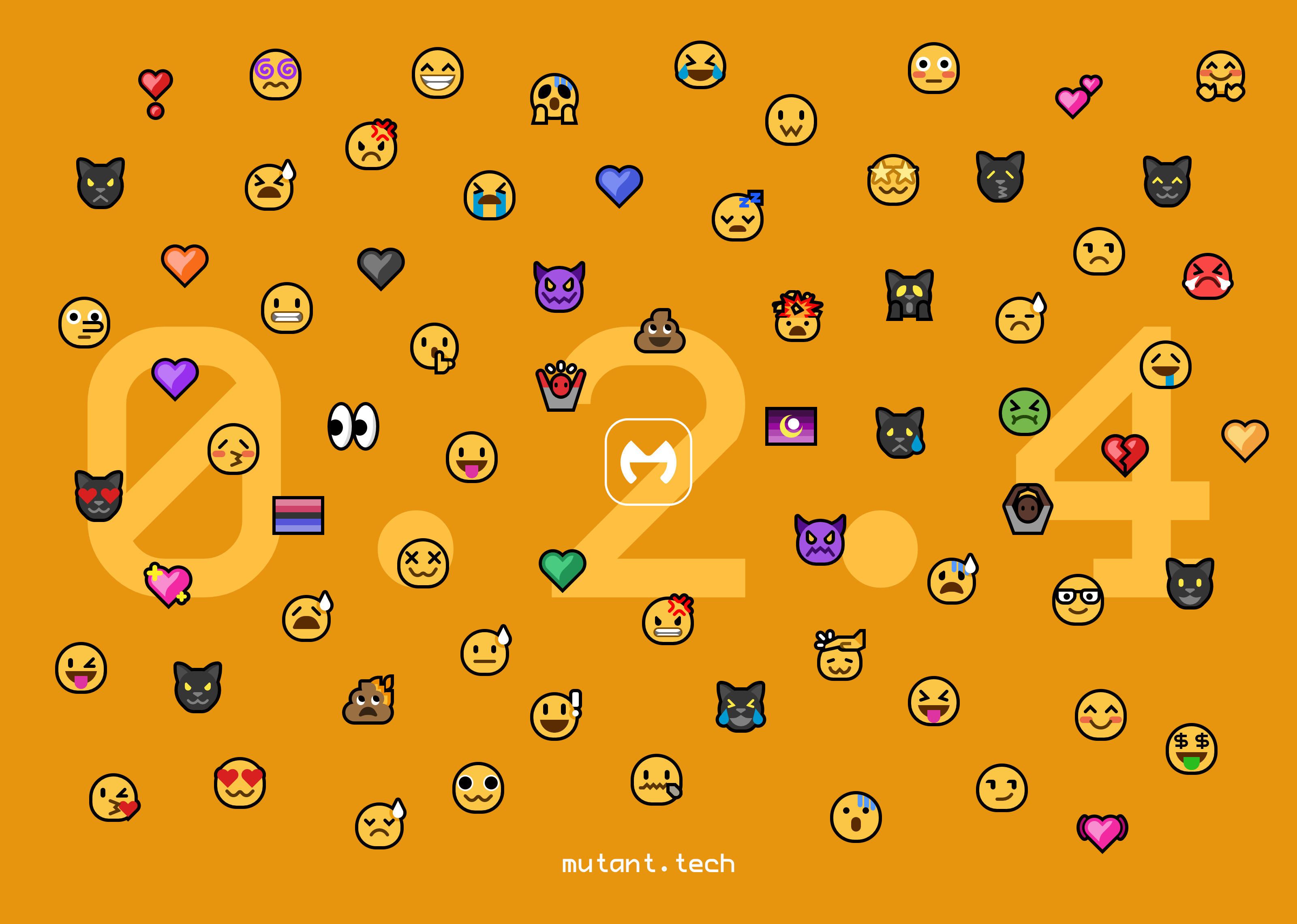 Promo image for Mutant Standard 0.2.4. Many of the redesigned and new emoji in 0.2.4 are scattered around the Mutant Standard logo in front of a bright orange background. Behind them is '0.2.3' in large light orange letters. The URL mutant.tech is on the center bottom in small white text.