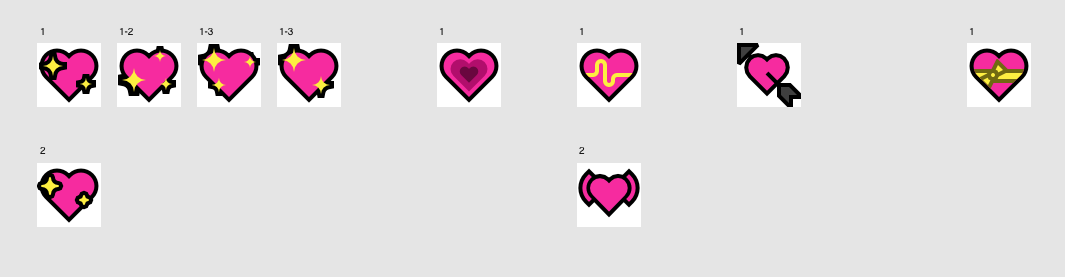 Development sketches for sparkling heart, growing heart, beating heart, heart with arrow and heart with bow.