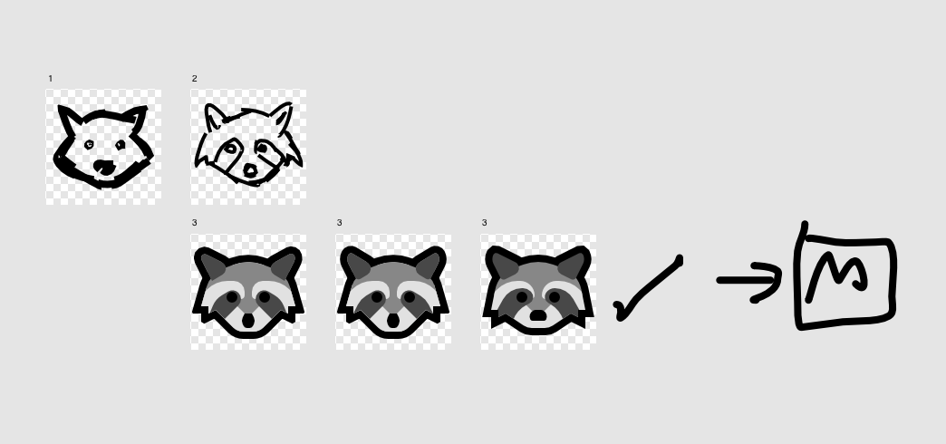 Development sketches of the raccoon emoji, starting from rough freehand sketches to the finished emoji.