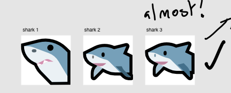 The sketch progression for the shark emoji
