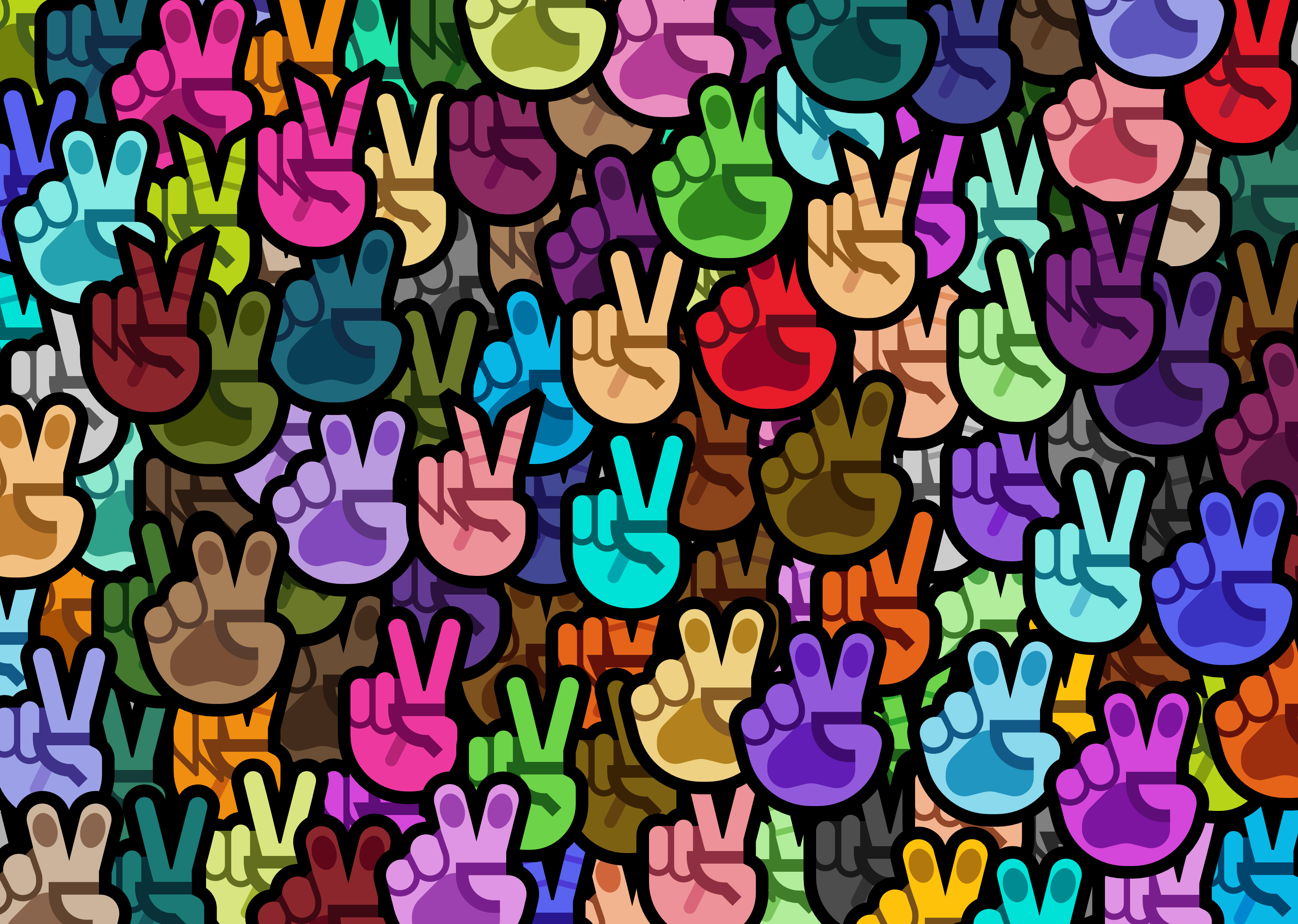 'V' hands in all of Mutant Standard 0.3.0's hand variations overlapped on top of each other in a pile.