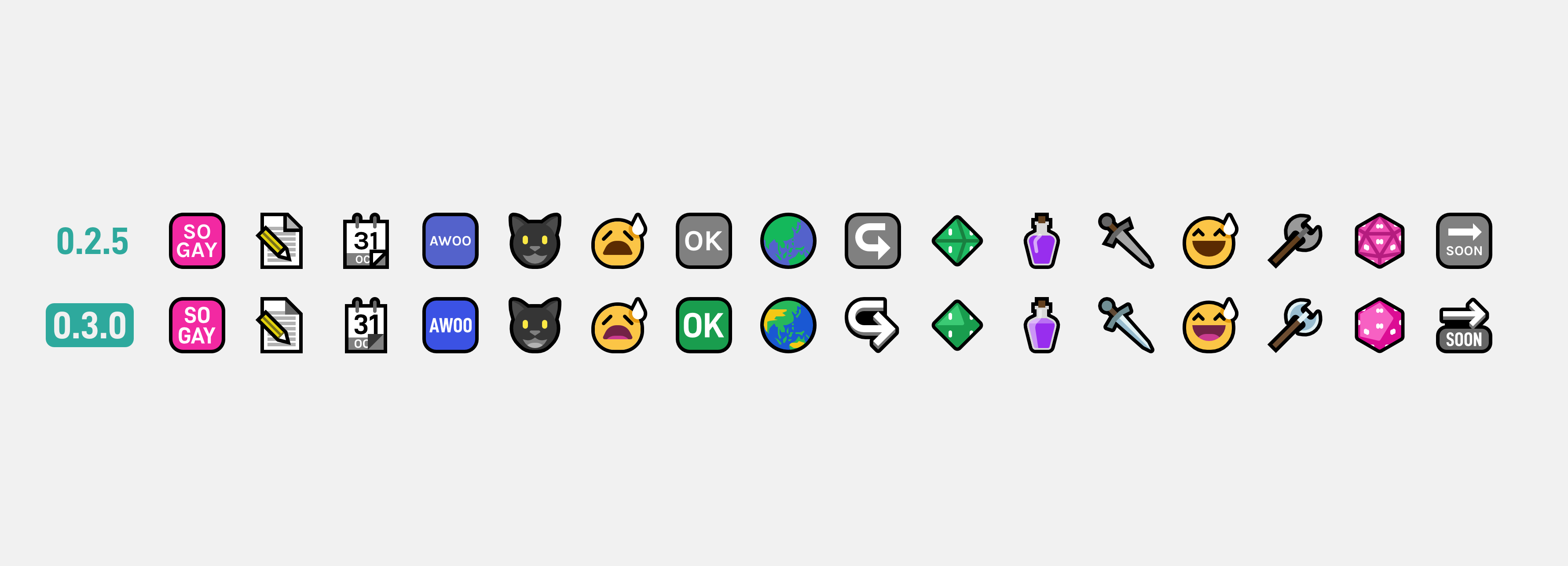 Two rows of emoji set against a very light gray background. The top row is from 0.2.5 and the bottom is from 0.3.0. 0.3.0 emoji are brighter, more detailed and have more lighting indicating depth. The differences also demonstrate the new font for latin symbols, which is bolder and clearer than the previous one.