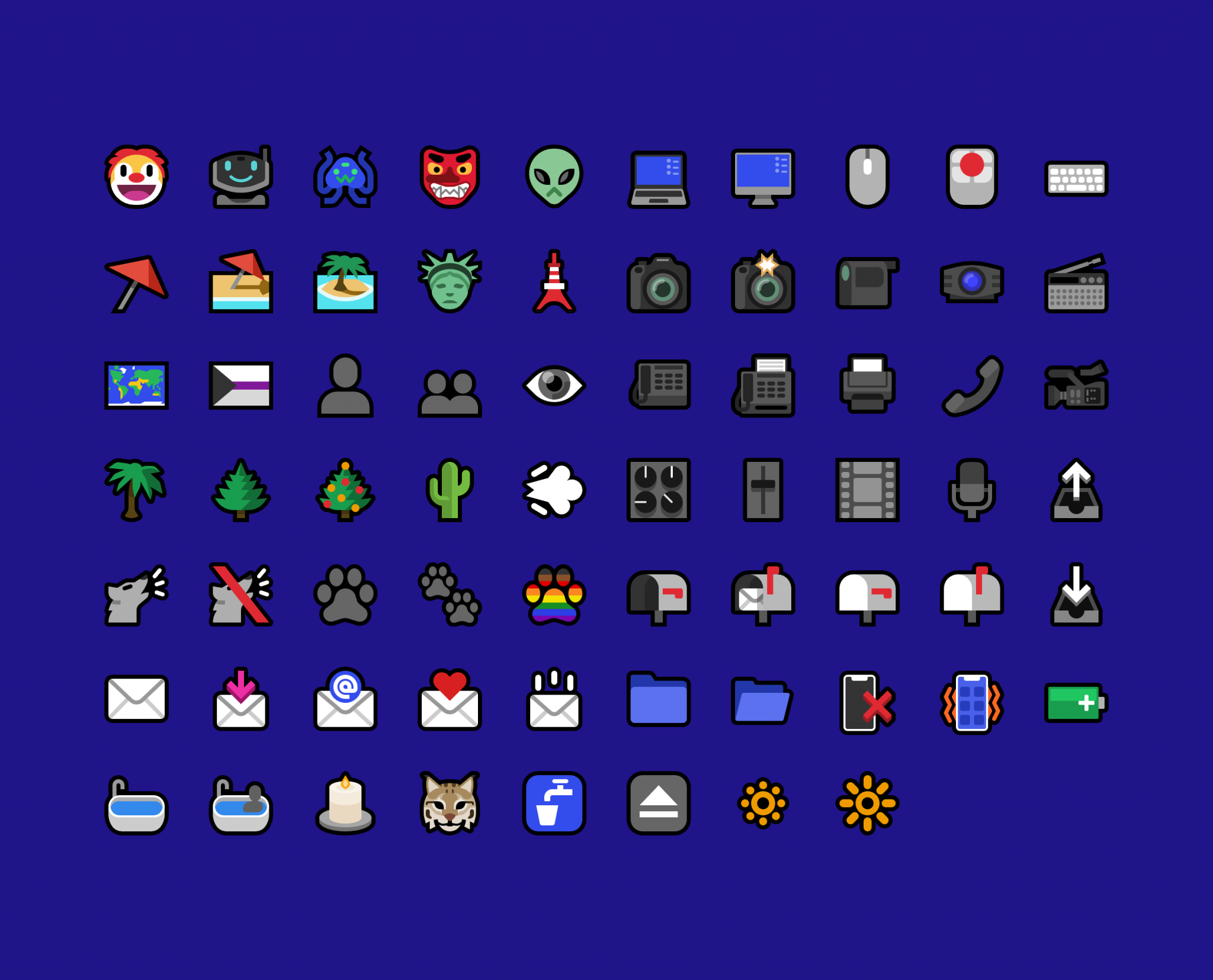 A grid of all of the new emoji in Mutant Standard 0.3.1 on a dark blue background.