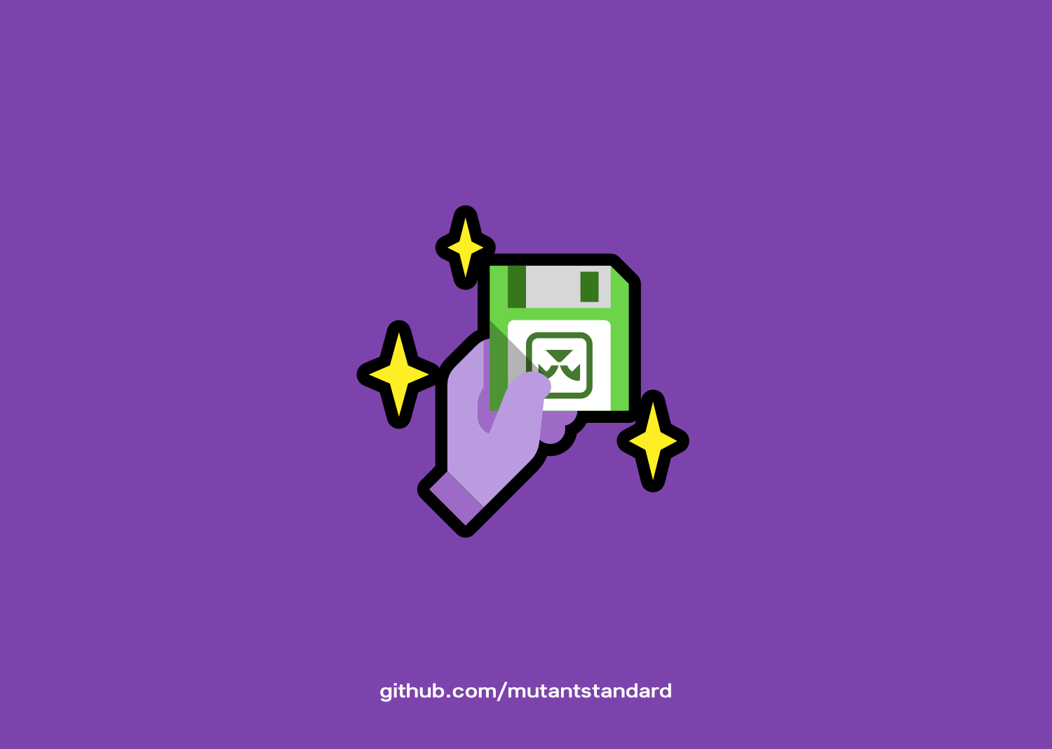 A purple background with a minimalist vector illustration of a purple hand holding up a bright green floppy disk with the Orxporter logo on it. They are surrounded by bright yellow sparkles. At the bottom there's aurl at the bottom for 'github.com/mutantstandard'