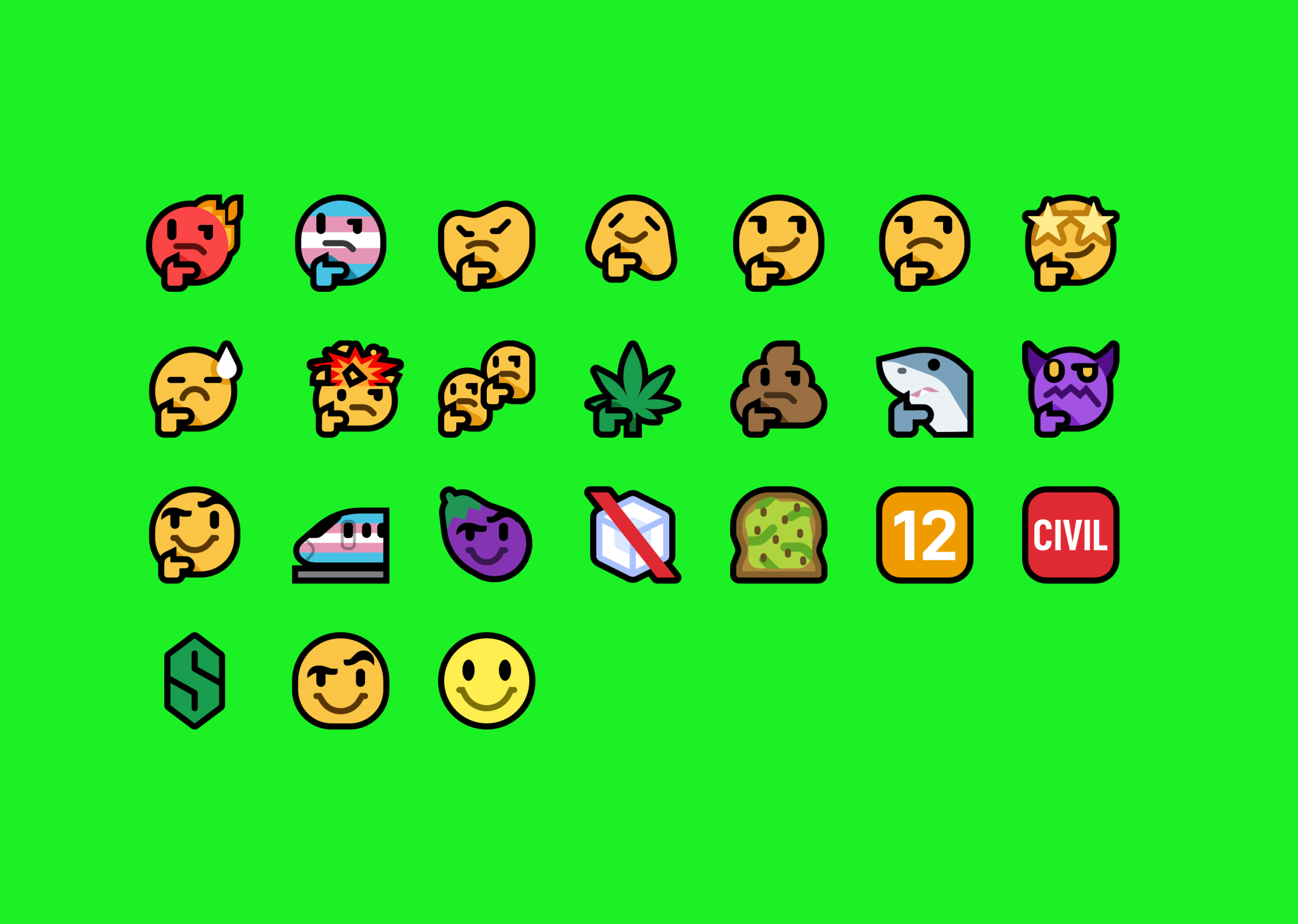A grid of all of the emoji in Mutant Standard S2 on a bright green background.
