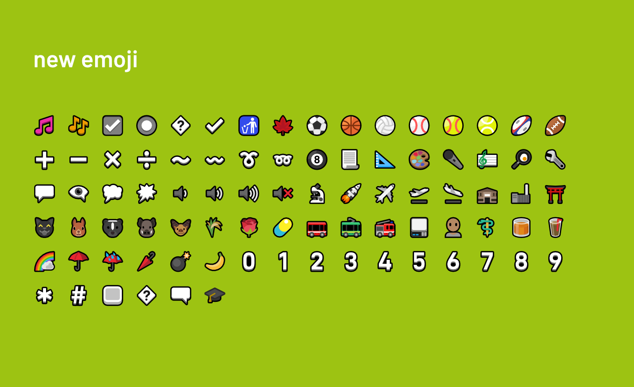 A grid of the new Mutant Standard emoji on a bright green background. Includes text symbols, sports balls, animals, weather, transport and tools.