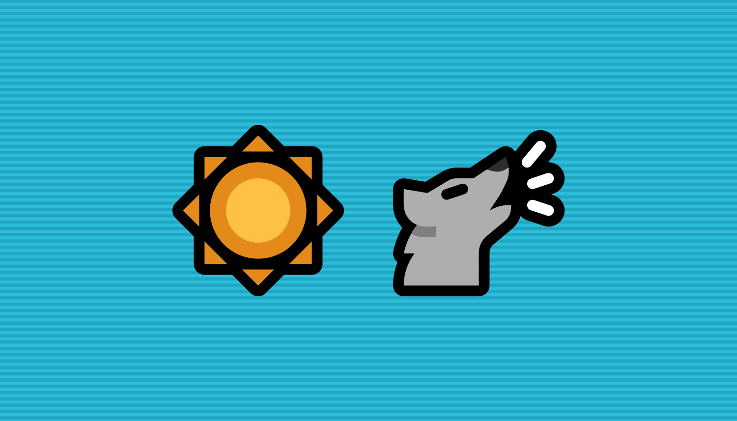 A Mutant Standard sun emoji and wolf awooing emoji side by side in front of a cyan background with faint horizontal stripes.